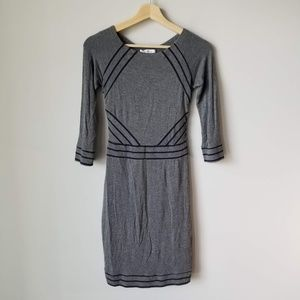 Bailey 44 Gray Navy Blue Stripe Dress 3/4 Sleeve